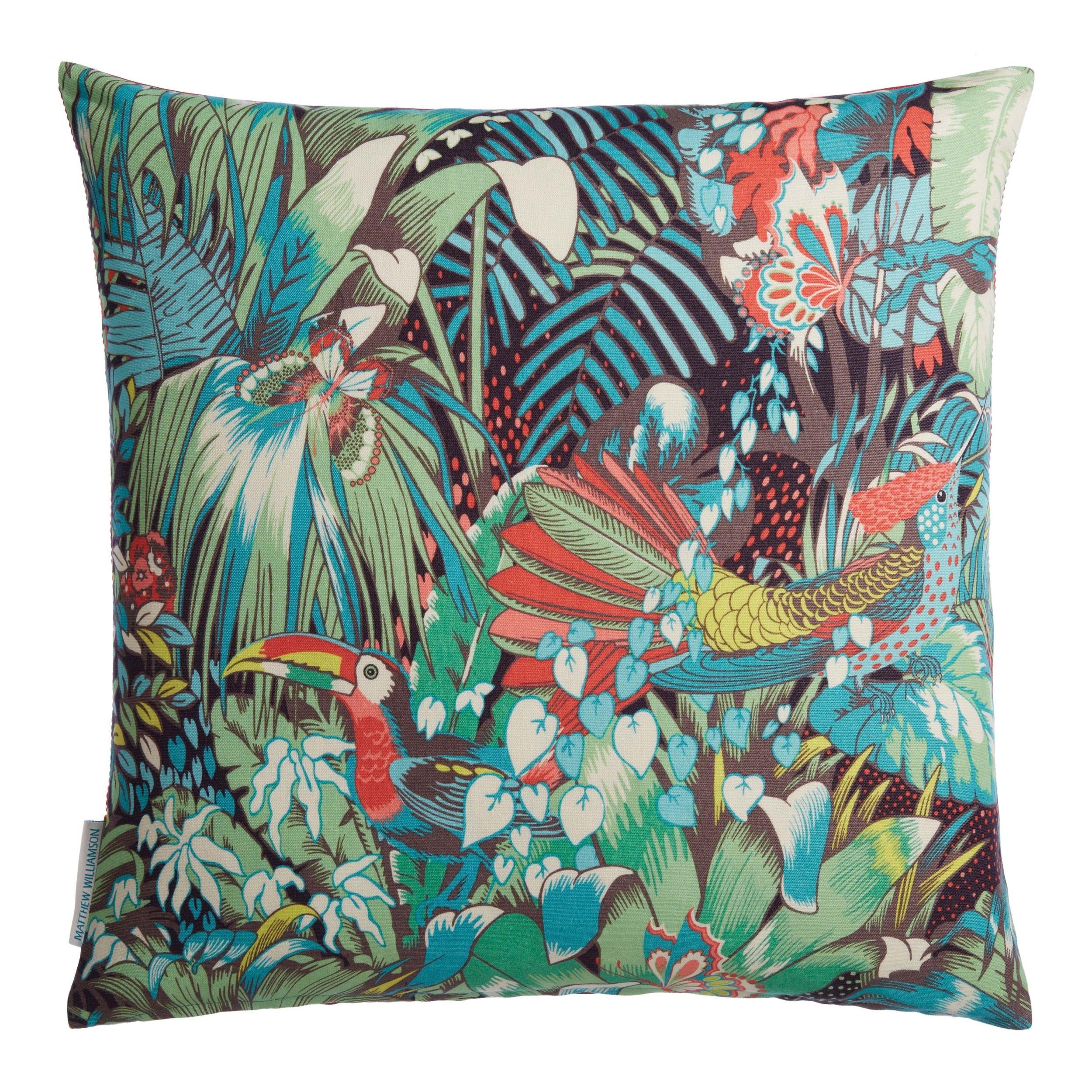 coussin jungle beat green blue 50x50 coussins matthew williamson le boudoir des etoffes. Black Bedroom Furniture Sets. Home Design Ideas