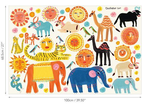 W578-01-sundance-wall-stickers-muraux-enfant-animaux-inde