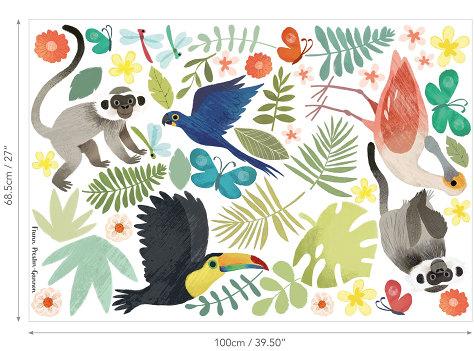 W591-01-jungle-jumble-autoccolant-muraux-enfant-jungle-animaux-amazonie