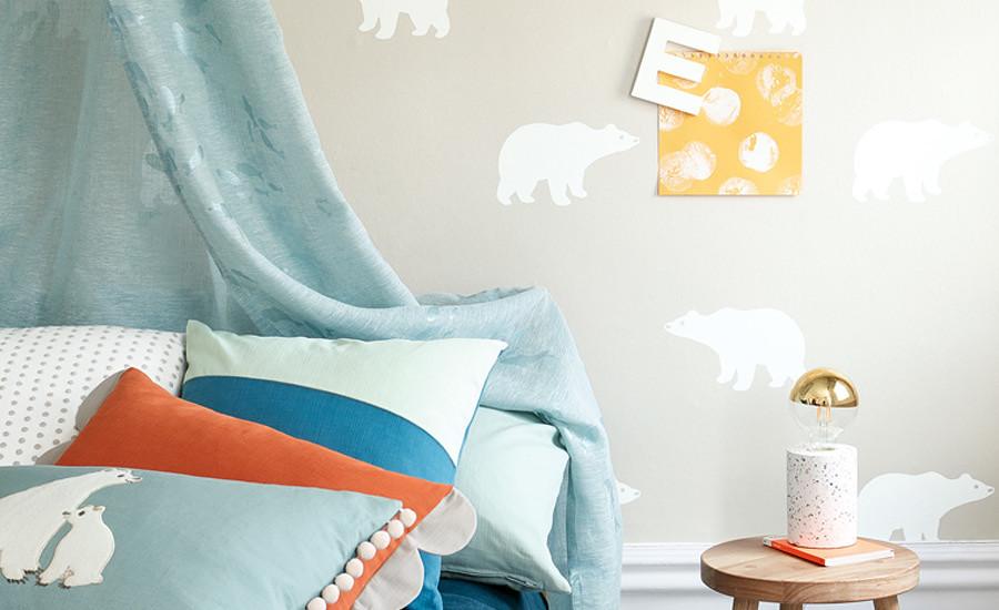 papier-peint-enfant-ours-polaire-gris