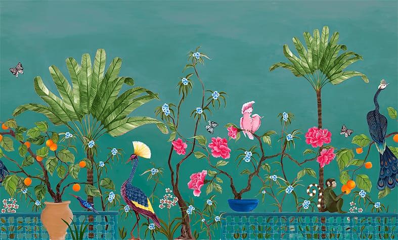 Neo-Tea-Garden-papier-peint-panoramique-exotique-canard