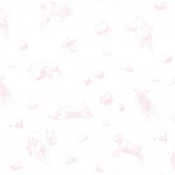 papier-peint-enfant-mouton-ciel-rose
