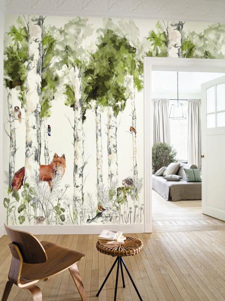 papier-panoramique-renard-foret-peinture