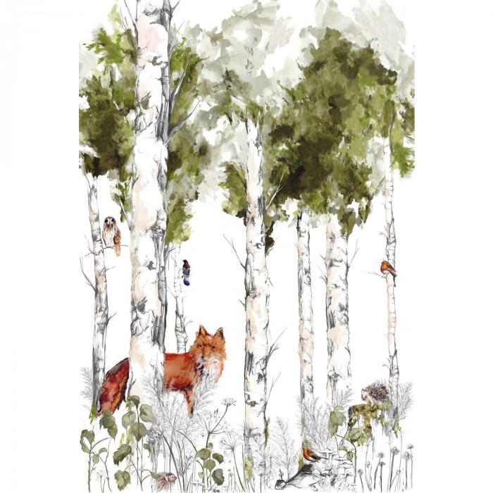 papier-panoramique-renard-foret