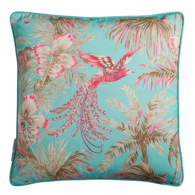 Coussin Bird of Paradise fuschia/jade 50X50