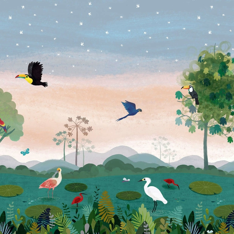 papier-peint-enfant-jungle-exotique - amazonie