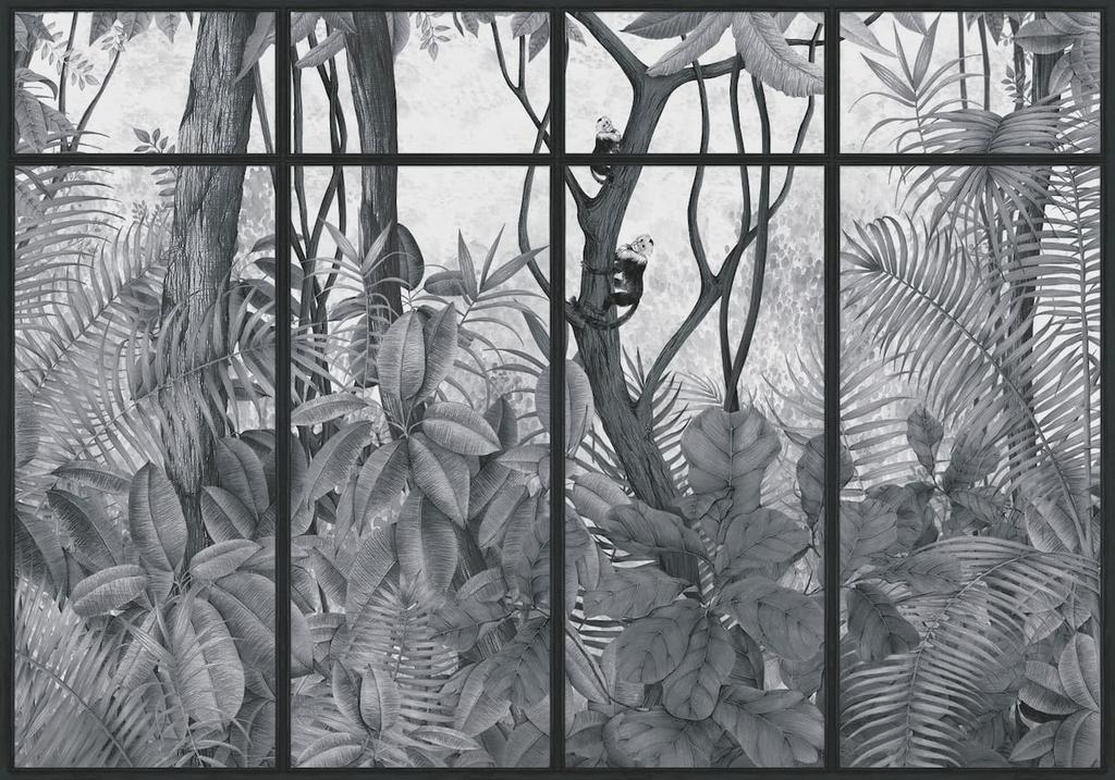 panoramque-casa-de-vidro-jungle-singe-noir-cadre