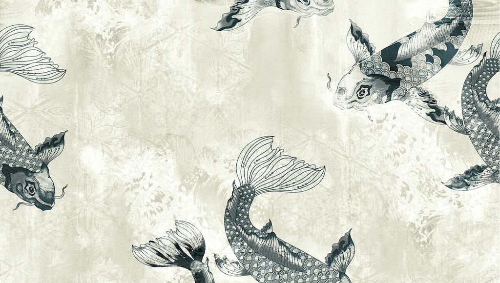 papier-peint-carpe-noir-blanc