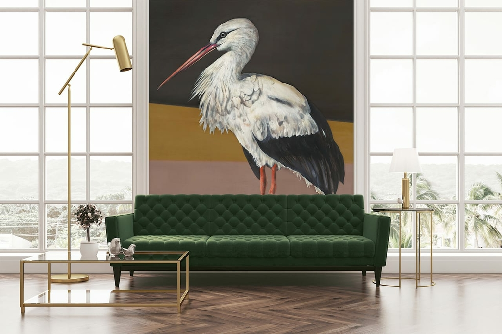 papier-panoramque-oiseau-heron-Stork-Mother-Black-visuel
