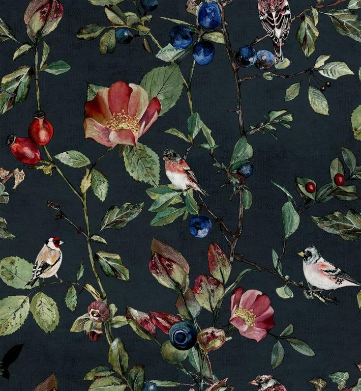 papier-peint-nature-oiseaux-fleurs-Goldfinch-Song-Night-9500033