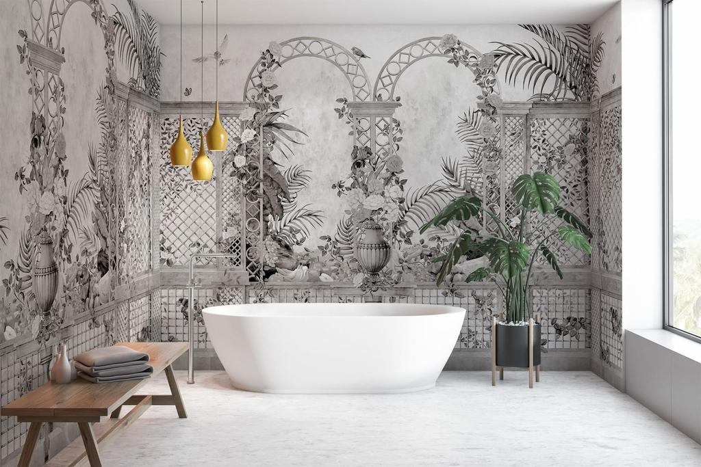 papier-peint-baroque-panoramique-jardin-treillis-noir-blanc