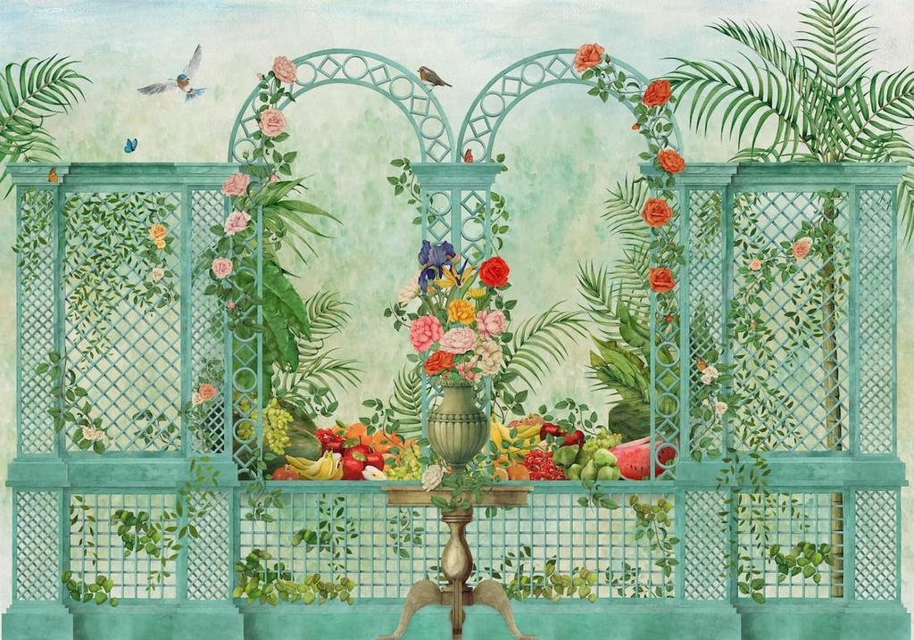 papier-peint-baroque-panoramique-jardin-treillis-9300090