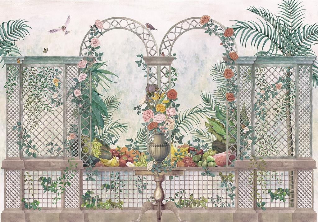 papier-peint-baroque-panoramique-jardin-treillis-Vintage-9300091