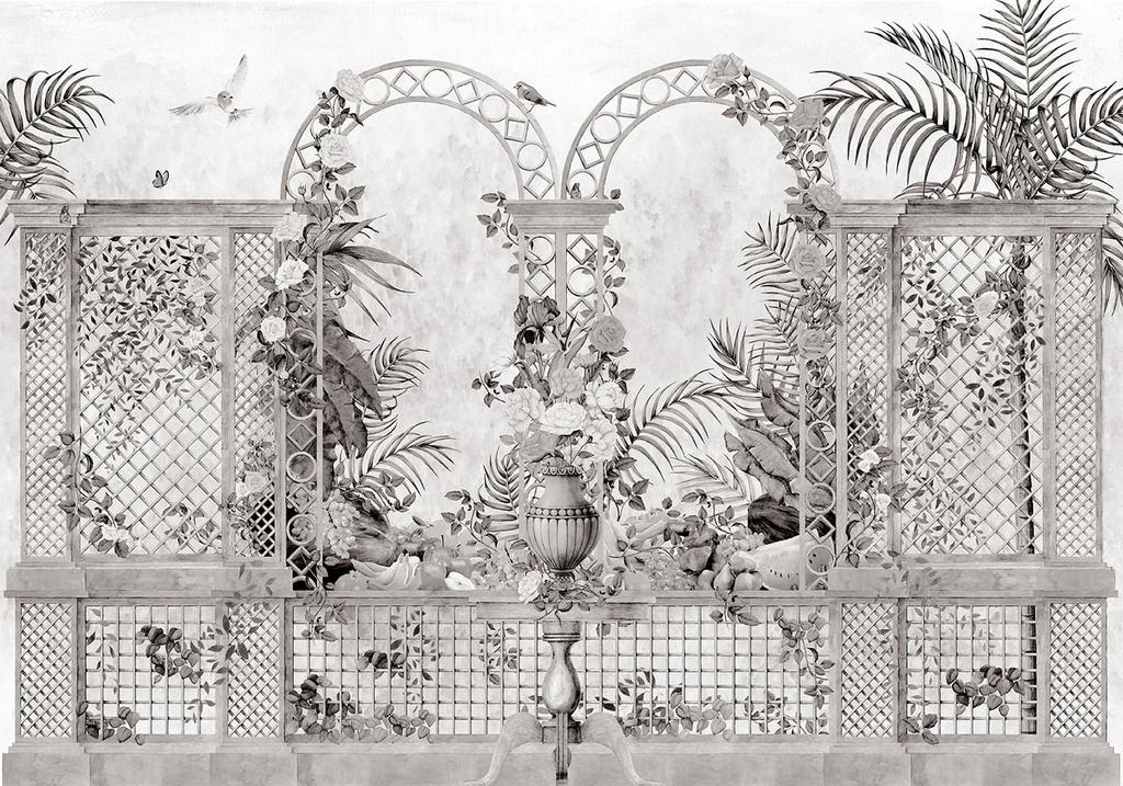 papier-peint-baroque-panoramique-jardin-treillis-noir-blanc-off-9300092