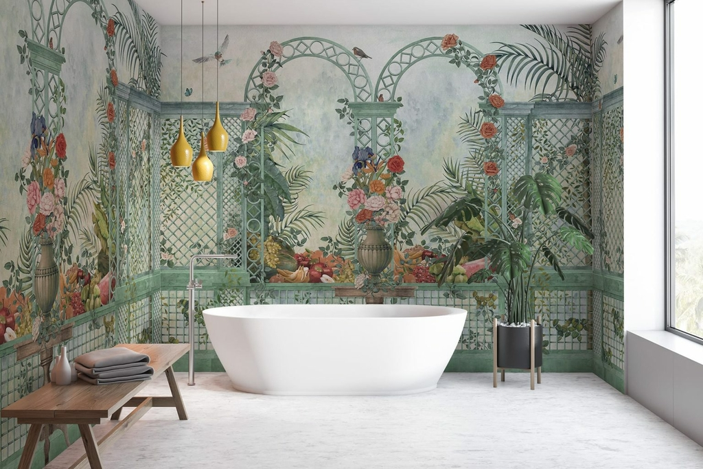 papier-peint-baroque-panoramique-jardin-treillis