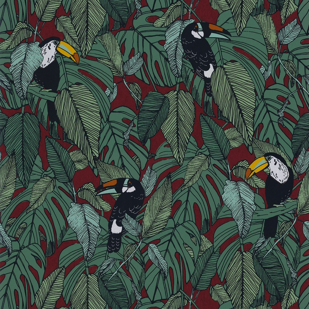papier-peint-jungle-exotique-toucan-casamance-bordeau