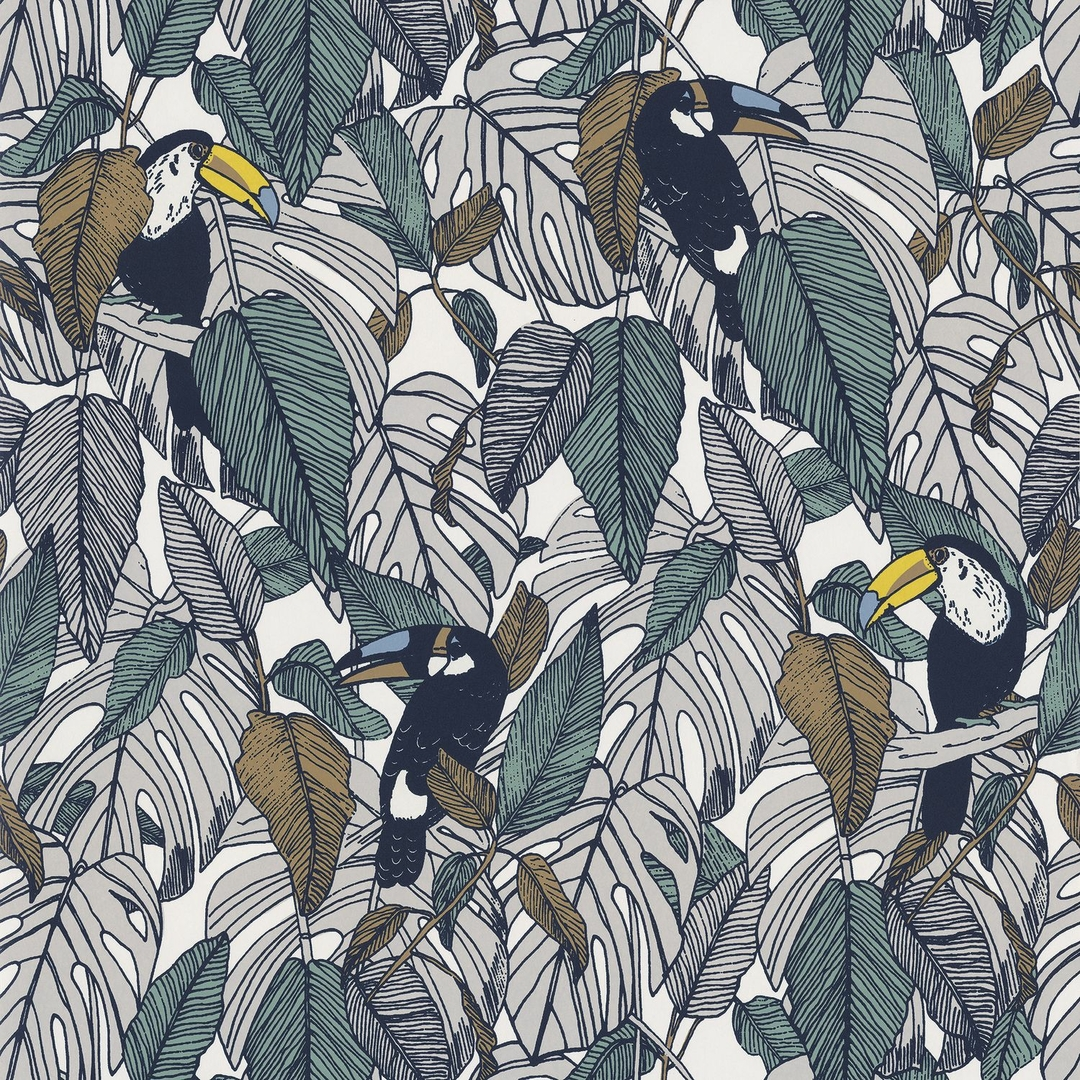 papier-peint-jungle-exotique-toucan-casamance