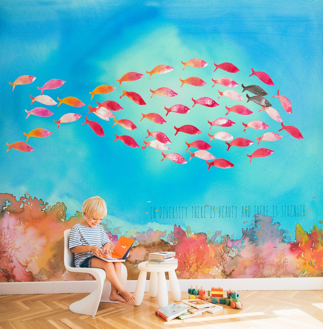 papier-peint'enfant-mer-poisson-panoramique