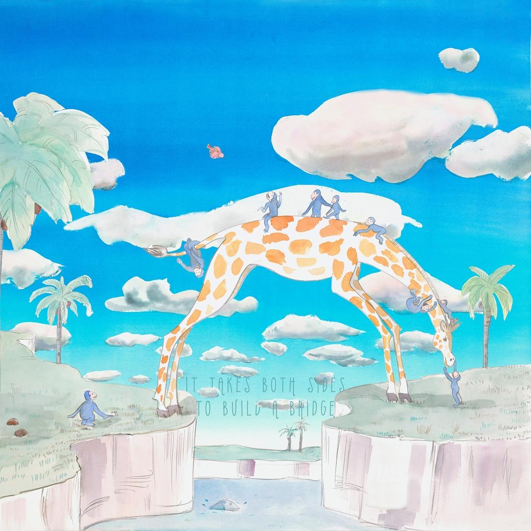 papier-peint-enfant-jungle-animaux-girafe-singe
