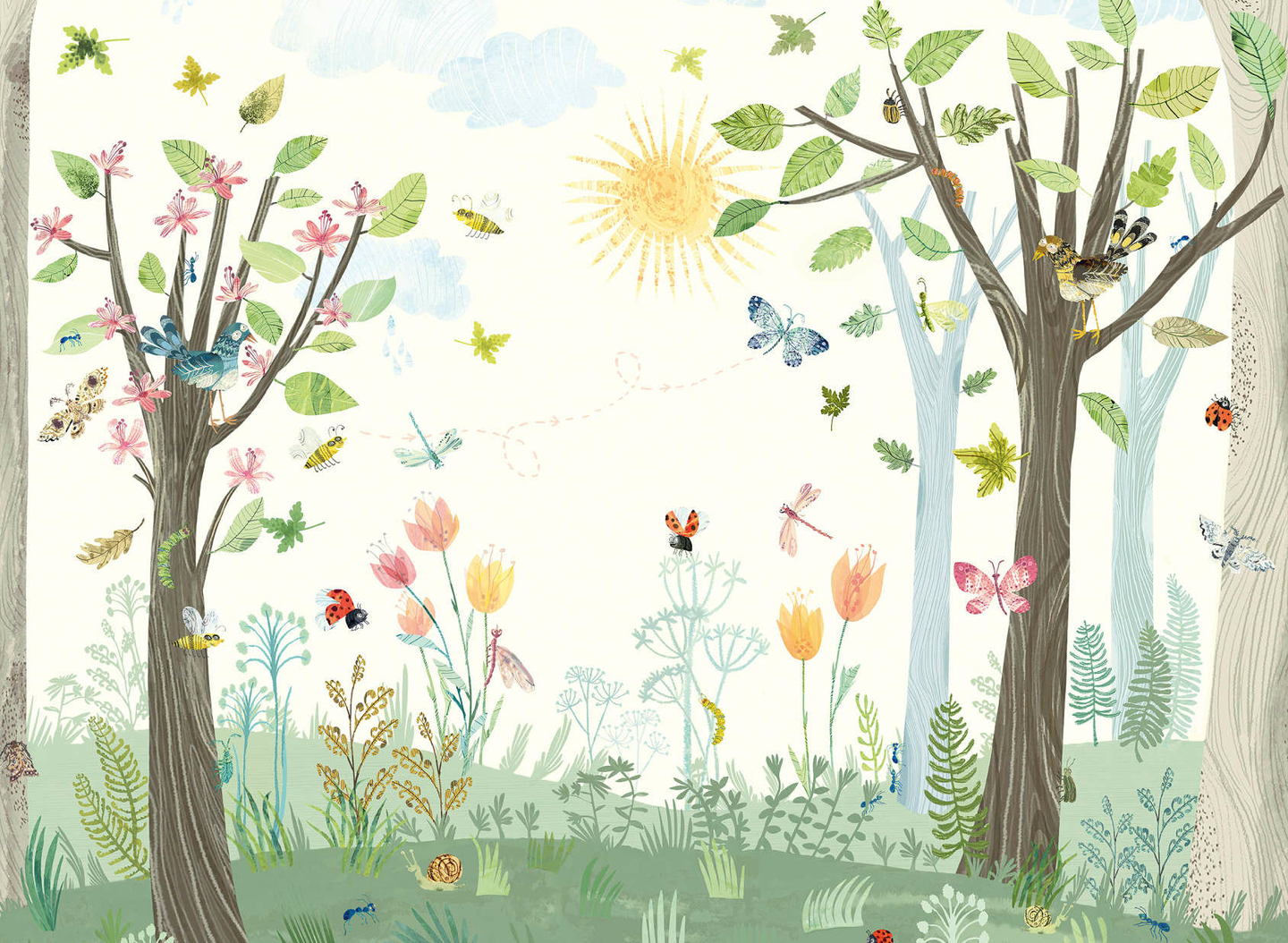 W575-01-busy-buzzy-wall-mural-papier-peint-enfant-foret-nature