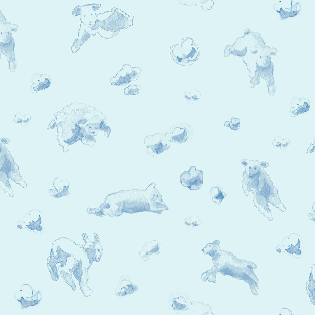 papier-peint-enfant-mouton-ciel-bleu