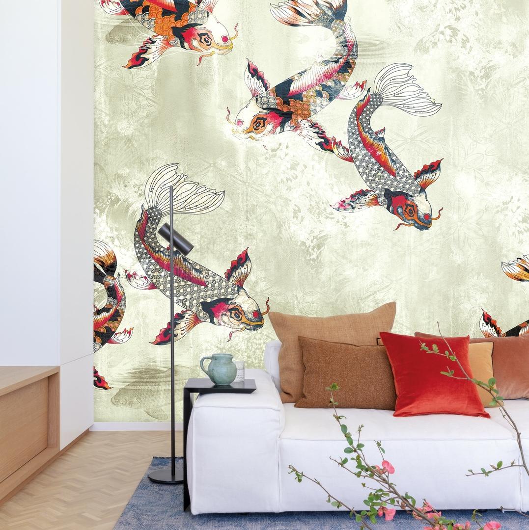 Papier-peint-motifs-poissons-carpes