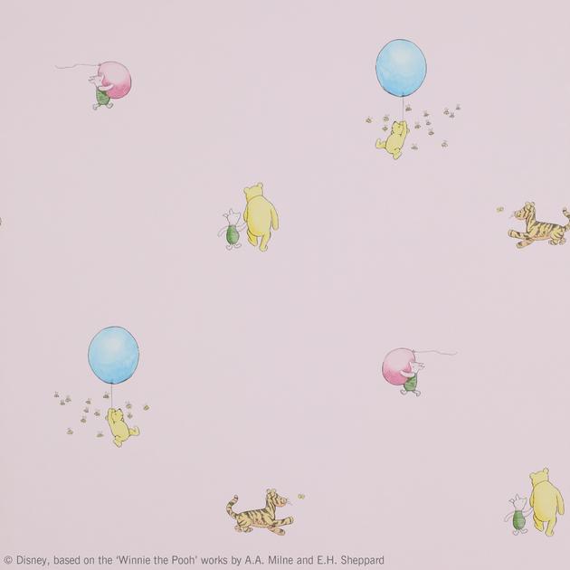 winnie-the-pooh-ballon-jane-churchill-papier-peint-enfant-03-rose