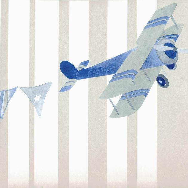Abracadabra-collection-enfant-camengo-papier-peint-avion-acrobat-gris-visuel