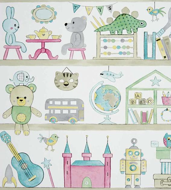 papier-peint-enfant-camengo-summer-camp-bibliotheque-rose