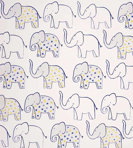 papier-peint-enfant-camengo-summer-camp-elephant-bleu