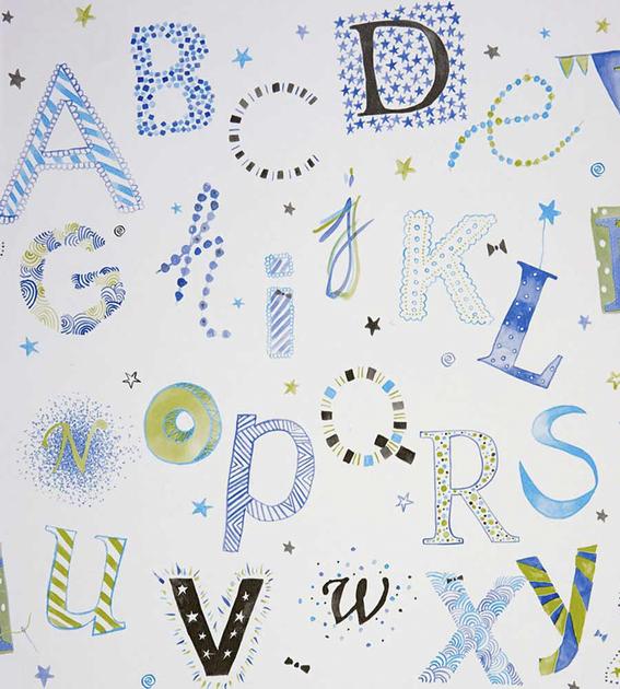papier-peint-enfant-camengo-summer-camp-lettres-bleu