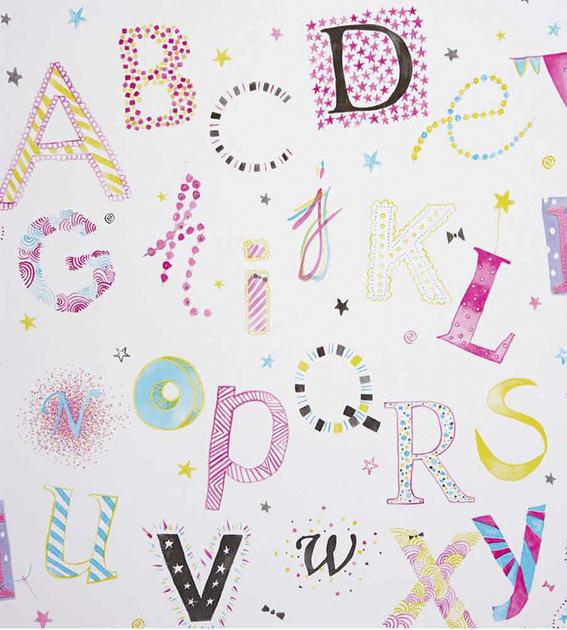 papier-peint-enfant-camengo-summer-camp-lettres-rose