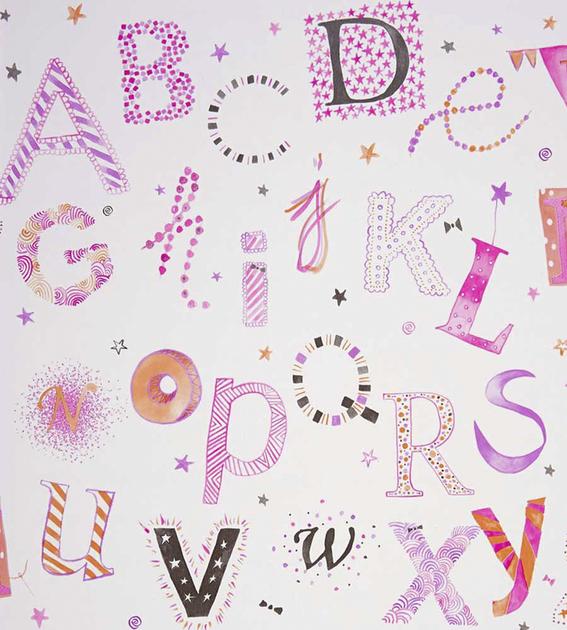 papier-peint-enfant-camengo-summer-camp-lettres-violet