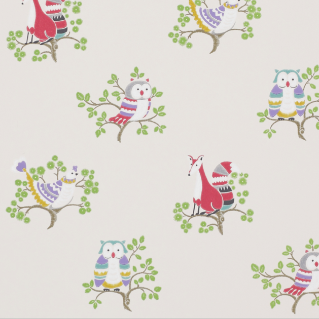 Papier peint-jane churchill-up a tree-cream