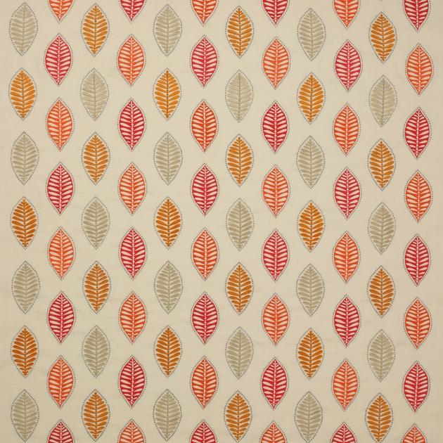tissu-feuille-stylisee-rouge-orange-alyssa