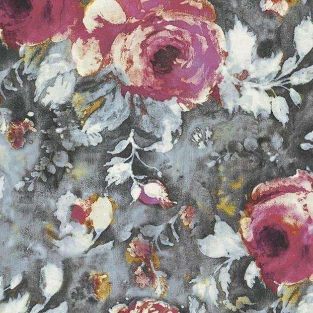 tissu-casamance-galante-rose sorbet-gris fusain