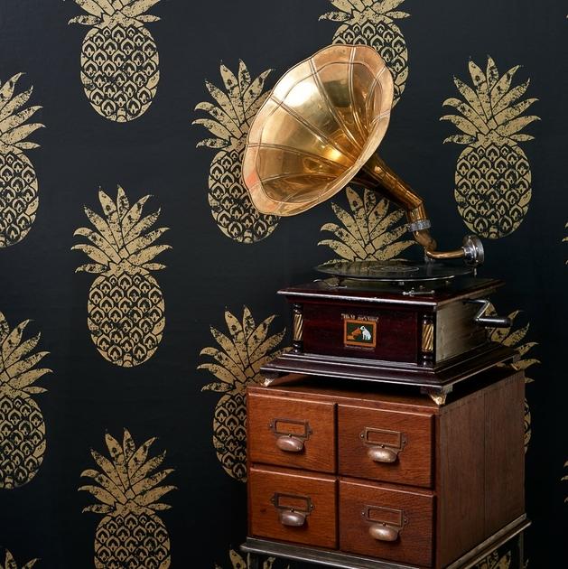papier-peint-ananas-or-dore