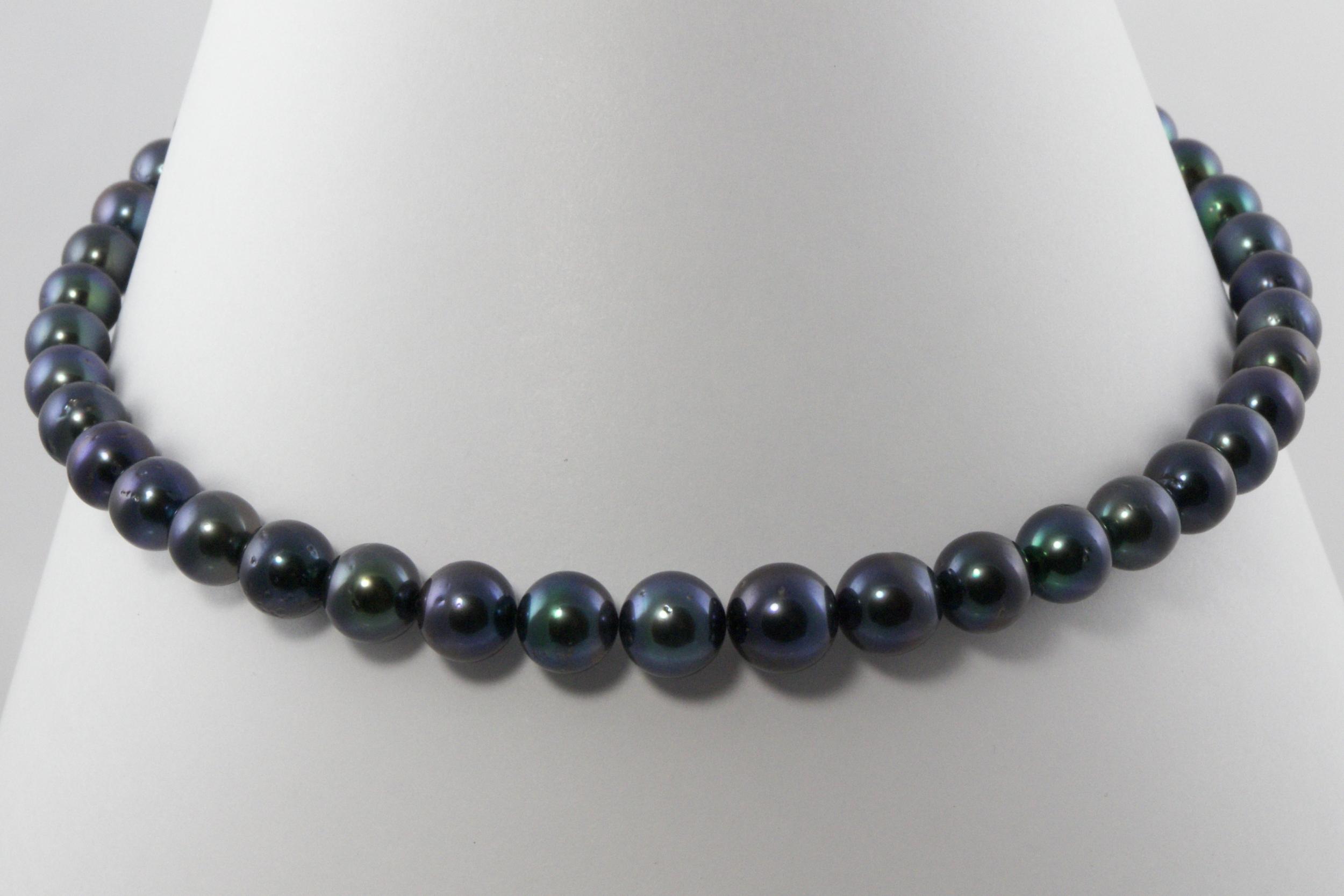 Collier Princesse 45 perles de Tahiti bleu/vert violet