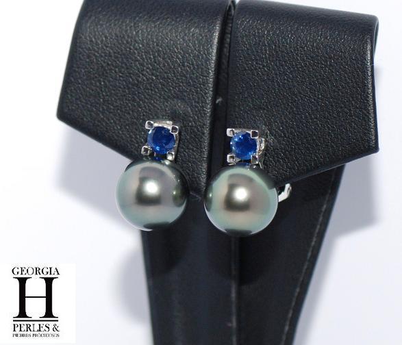 Favori Boucles d'oreilles saphir bleu et perles de tahiti - Boucles d  HZ49
