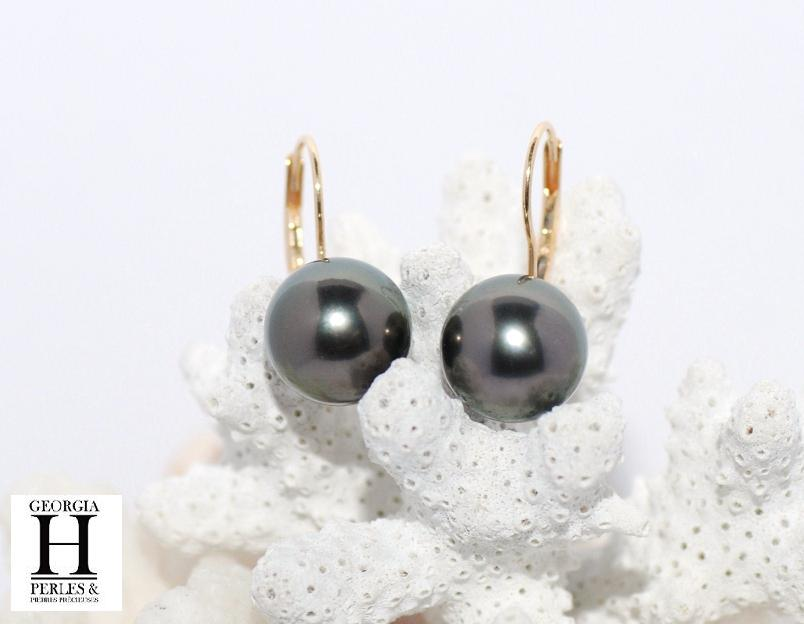 Boucles d\'oreilles Dormeuses or jaune 2 perles de Tahiti