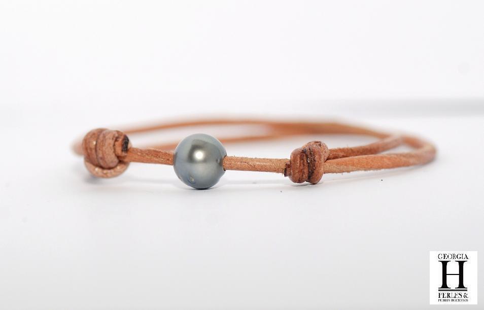 Bracelet Marrakech naturrel avec une perle de Tahiti