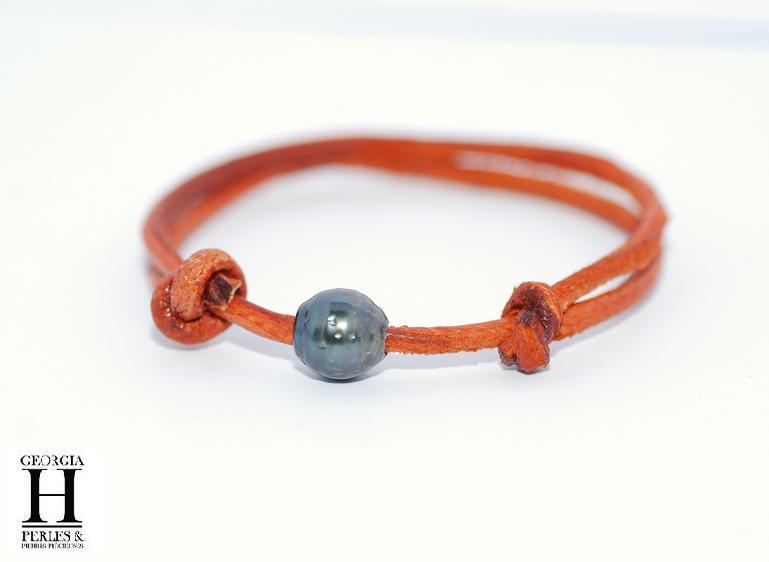 Bracelet Marrakech rouille avec une perle de tahiti (4)