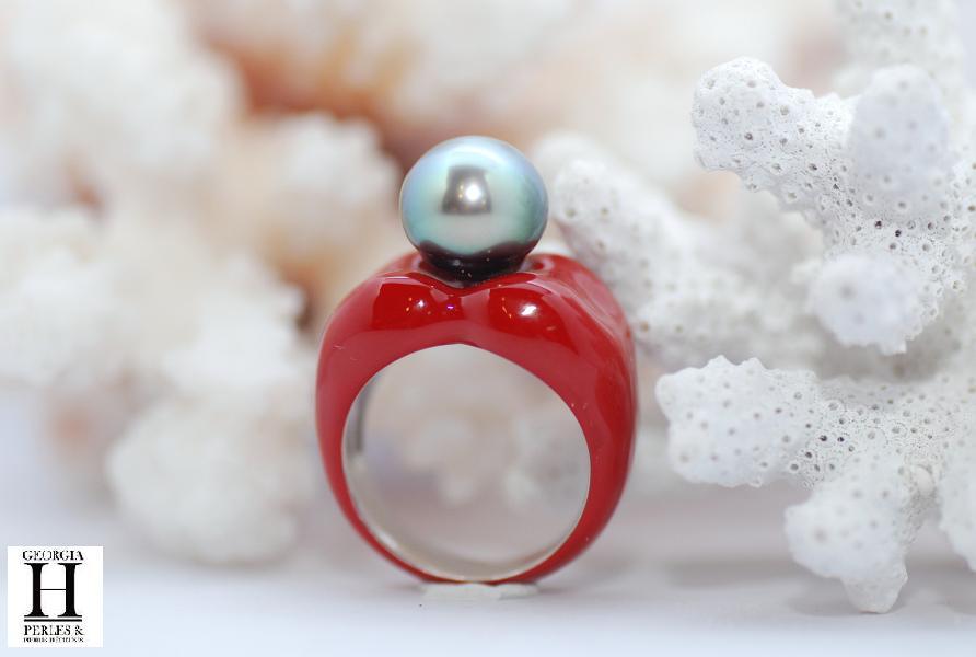 Bague double-coeur rouge et 1 perle de Tahiti