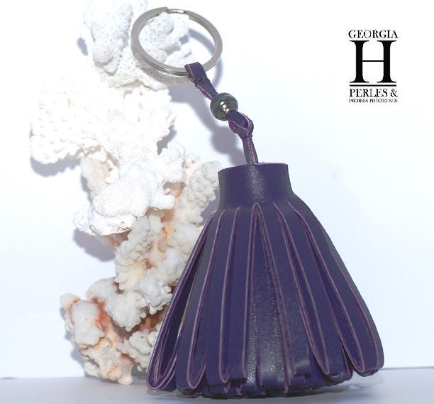 Pompon violet 1 perle de Tahiti