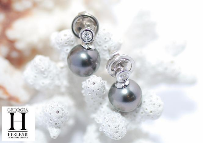 Boucles d\'oreilles diamants or blanc 2 perles de Tahiti