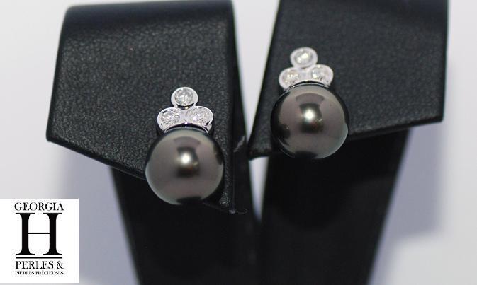 Boucles doreilles diamants et perles de tahiti (2)