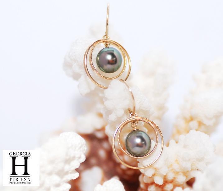 Boucles d\'oreilles Créoles 2 perles de Tahiti