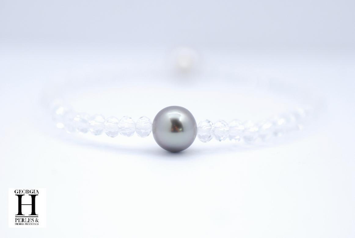 Bracelet Manhattan 1 perle de Tahiti de 8mm et perles swarovski