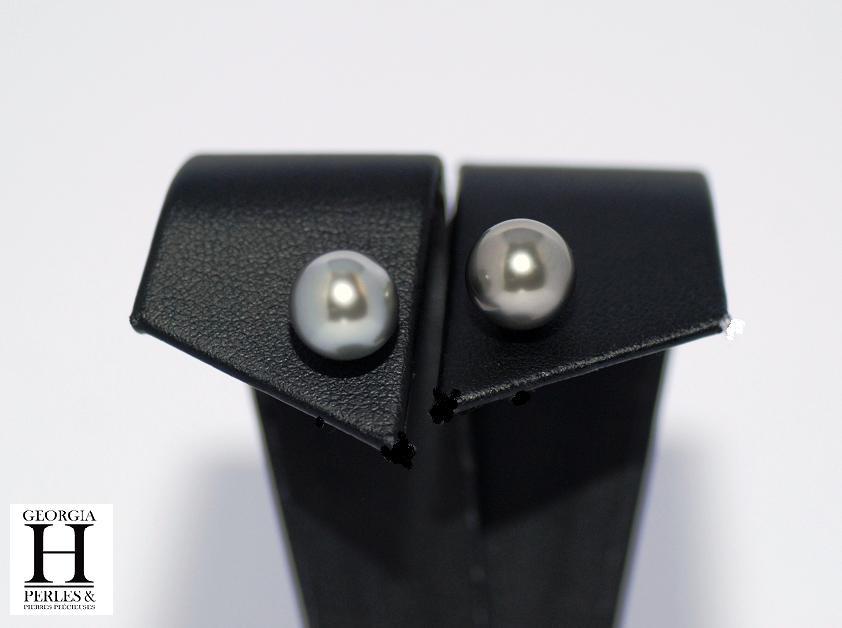 Boucles doreilles Boutons perles de tahiti Pistache (6)