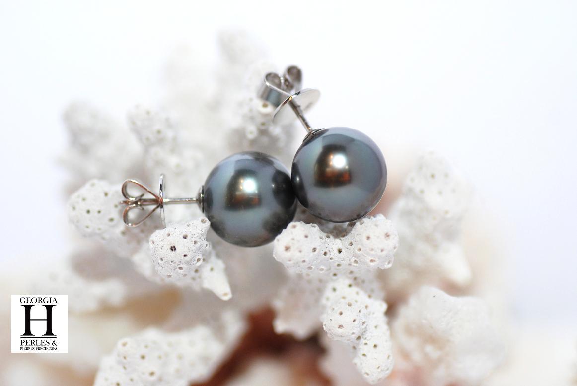 Boutons d\'oreilles 2 perles de Tahiti 11mm